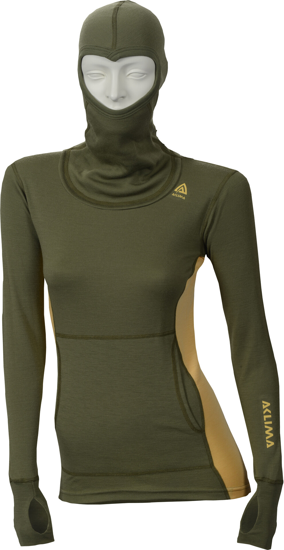 Aclima W's WarmWool Hood Sweater Capulet Olive/Golden Olive/Golden Olive/Golden Apricot 667348